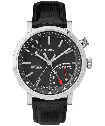 ec68406fa3be iQ+ Move Metro 42mm Leather Strap Watch Silver-Tone Black large