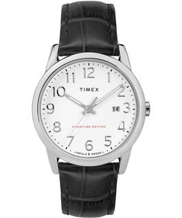 Easy Reader Signature 38mm Leather Watch with Date Chrome/Black/White large