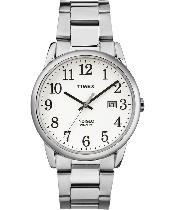 Easy Reader 38mm Stainless Steel Watch with Date Silver-Tone/White large