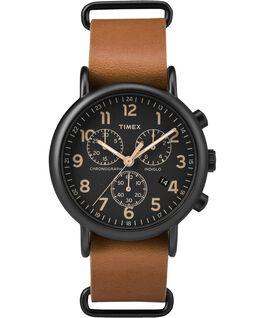 Weekender Chrono 40mm Dark Leather Watch Black/Tan large