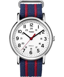 Weekender Stripe 38mm Nylon Strap Watch Chrome/Blue/White large