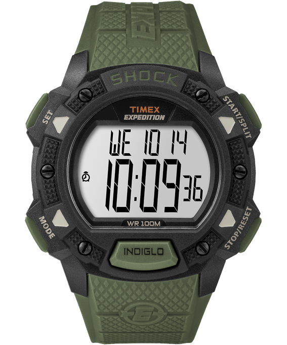 Expedition Base Shock 45mm Resin Strap Watch Black/Green large