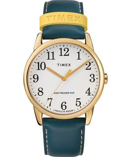 Reloj para mujer Easy-Reader Color Pop exclusivo de 38 mm con correa de piel Dorado/Azul/Crema large