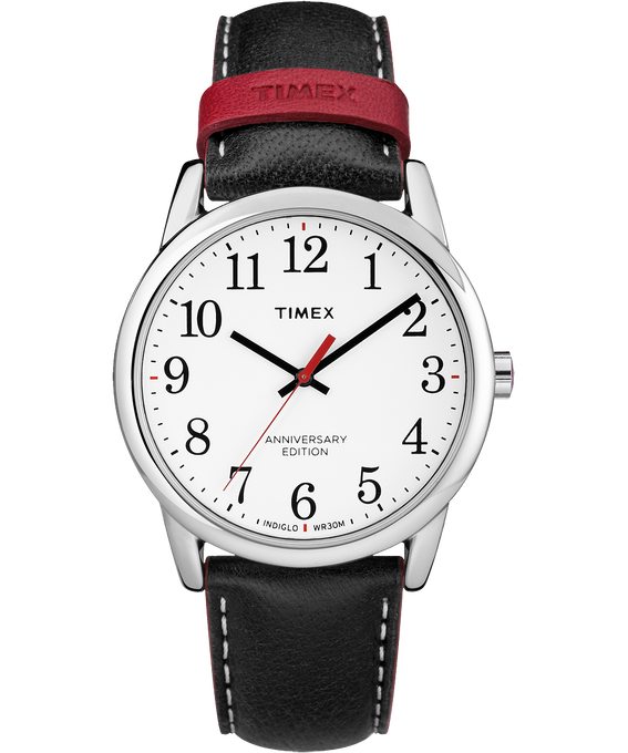 Easy Reader 40th Anniversary 38mm Leather Watch Silver-Tone/Black/White large