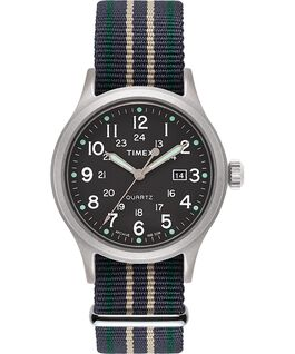 Allied 40mm Fabric Strap Watch with Dot Markers Silver-Tone/Green large