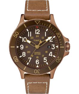 Allied Coastline 43 mm con cinturino in pelle Bronze-Tone/Brown large