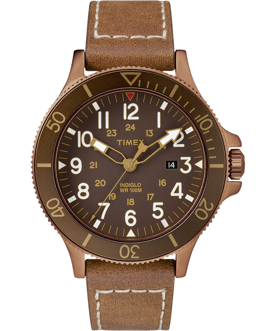 Allied Coastline 43mm Leather Strap Watch Bronze-Tone/Brown large