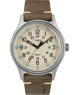 MK1 Steel 40mm Leather Strap Watch Silver-Tone/Brown/Natural large