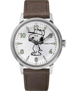 Montre Welton avec Snoopy 40mm Bracelet en cuir Acier inoxydable/Marron/Argenté large