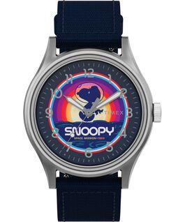 Zegarek Timex x Space Snoopy MK1 Steel 40 mm z paskiem materiałowym Srebrny/Niebieski large
