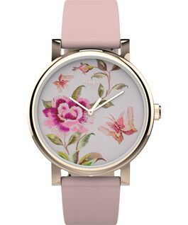 Reloj Full Bloom de 38 mm con correa de piel Dorado/Burdeos/Rosa large