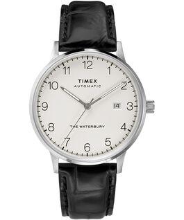 Reloj automático Waterbury Classic de 40mm con correa de piel Acero inoxidable/Negro/Blanco large