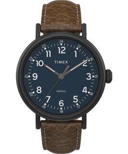 Zegarek Timex Standard XL 43 mm z paskiem skórzanym Czarny/Brązowy/Niebieski large