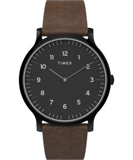 Norway 40mm Leather Strap Watch Black/Brown large