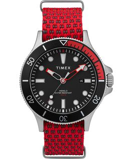 Montre Allied Coastline 43 mm avec lunette rotative et bracelet en tissu Silver-Tone/Red/Black large