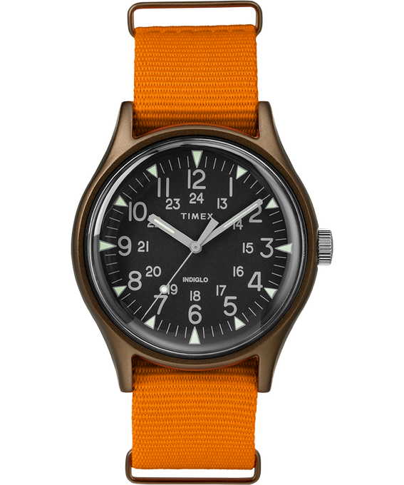 MK1 Aluminum 40mm Nylon Strap Watch Green/Orange/Black large