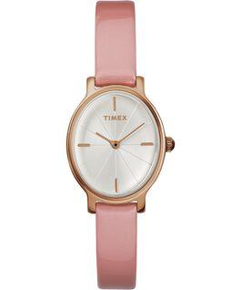 Reloj Milano Oval de 24mm con correa de charol Tono oro rosa/Rosa/Plateado large