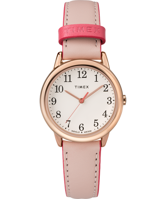 Easy Reader Color Pop 30mm Leather Strap Watch Rose-Gold-Tone/Pink/Cream large