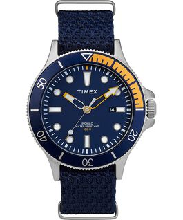 Montre Allied Coastline 43mm avec lunette rotative et bracelet en tissu Argenté/Bleu large