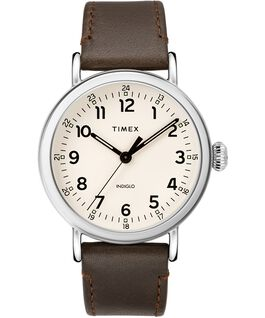 Standard 40 mm con cinturino in pelle Silver-Tone/Brown/Cream large
