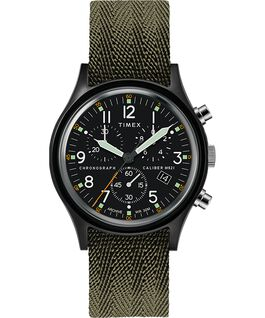 MK1 Chronograph 40mm Fabric Watch with Dot Dial Markers Black/Green large