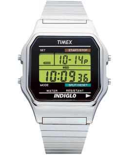 Classic Digital 34mm Stainless Steel Watch Silver-Tone/Stainless-Steel large