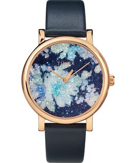 Crystal Bloom with Swarovski Fabric 38mm Leather Watch Rose-Gold-Tone/Blue large