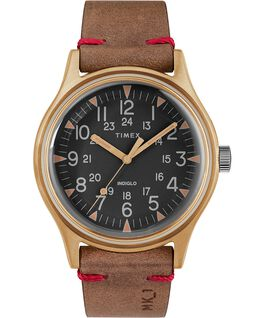 MK1 Steel 40mm Leather Strap Watch Bronze-Tone/Brown/Black large