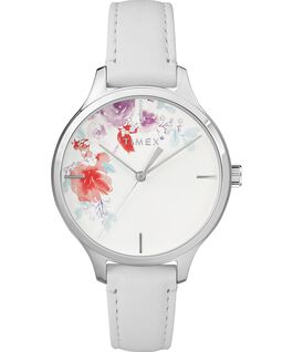 Crystal Bloom with Swarovski Elements 36mm Leather Watch Chrome/White large