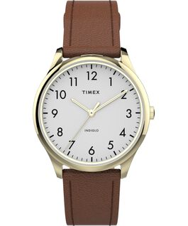 Modern Easy Reader 32mm Leather Strap Watch Gold-Tone/Brown/White large