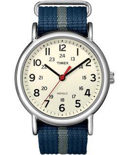 Weekender Stripe 38mm Nylon Strap Watch Silver-Tone/Blue/White large