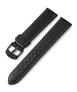 Correa de cuero de 18mm con costuras blancas Negro large