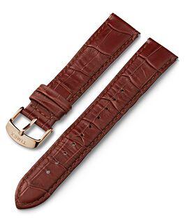 Bracelet en cuir motif croco et boucle rose doré à dégagement rapide 20mm Marron large