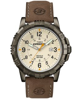 Expedition Rugged Metal Analog 45mm Leather Strap Watch Gray/Brown/Natural large