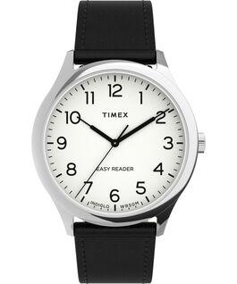 Reloj Easy Reader Gen1 de 40mm con correa de piel Plateado/Negro/Blanco large