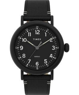 Standard 41mm Leather Strap Watch Black large