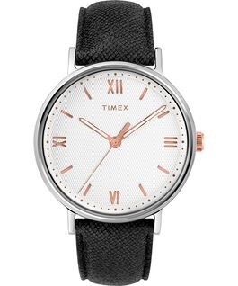 Southview 41mm Leather Watch Silver-Tone/Black/White large