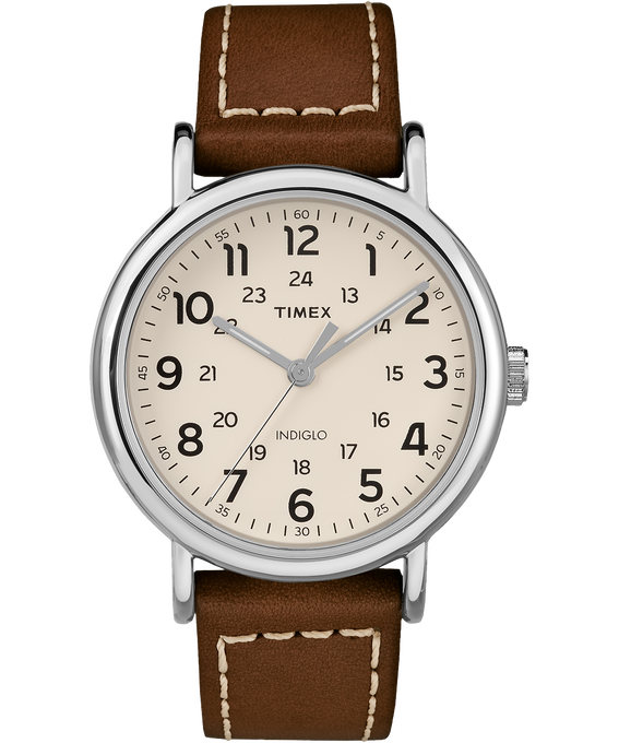 Weekender 2 Piece 40mm Leather Watch Silver-Tone/Brown/Cream large