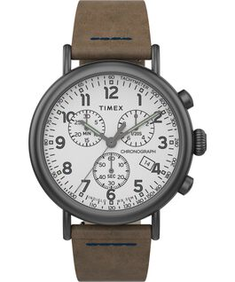 Montre chronomètre Standard 40 mm bracelet en cuir Gunmetal/Brown/White large