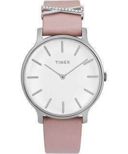 Zegarek Transcend z kopertą 38 mm i dodatkowym skórzanym paskiem Srebrny/Różowy/Biały large