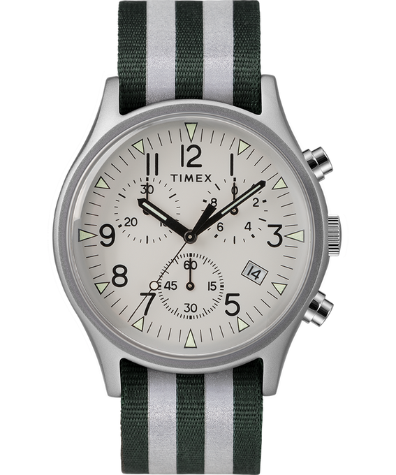 MK1 Aluminum Chrono 40mm Reflective Nylon Strap Watch Silver-Tone/Green large