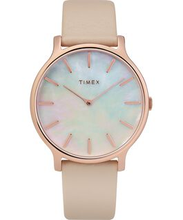 Transcend 38mm Leather Strap Watch Rose-Gold-Tone/Pink/Mother-of-Pearl large