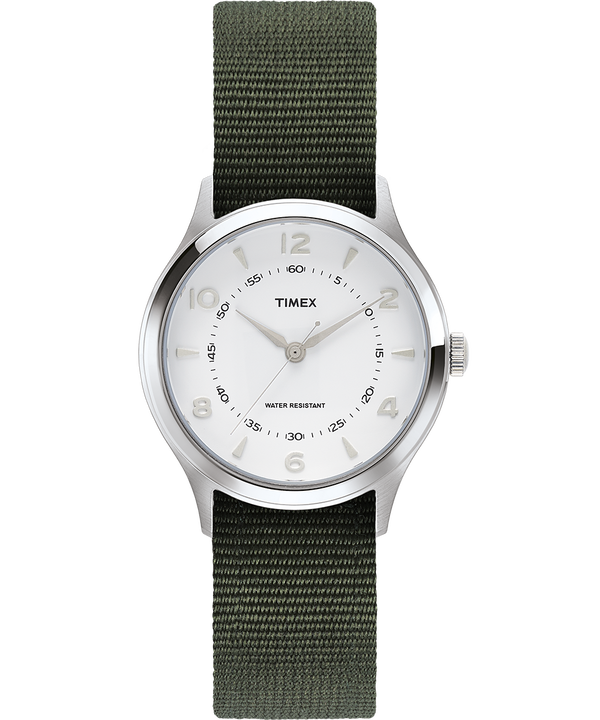 Reloj Whitney Village de 36 mm con correa reversible de otomán Stainless-Steel/White large