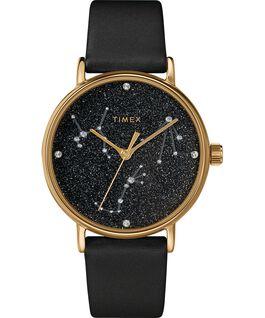 Celestial Opulence 37mm Textured Strap Watch Gold-Tone/Black-LIBRA,SCORPIO,SAGITARIUS large