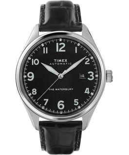 Reloj automático Waterbury Traditional de 42mm con correa de piel Acero inoxidable/Negro large