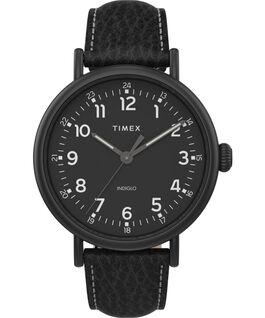Zegarek Timex Standard XL 43 mm z paskiem skórzanym Czarny large