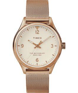 Montre femme Waterbury Traditional 34mm bracelet à milanaise Rose doré/Crème large