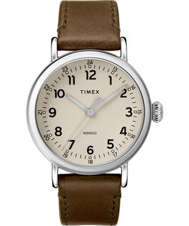 Standard 40mm Leather Strap Watch Silver-Tone/Green/Gray large
