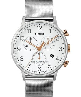 Waterbury Classic Chrono mit Mesh-Armreif, 40 mm Edelstahl/weiß large