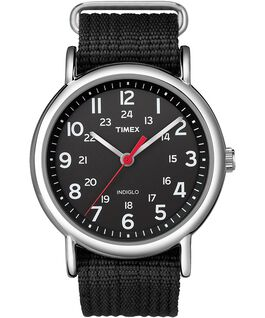 Weekender 38mm Nylon Strap Watch Silver-Tone/Black large